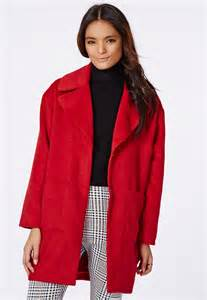 missguided coat in red