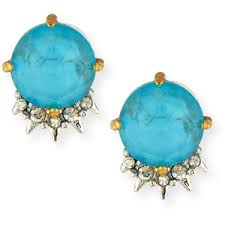 Alexis Bittar crystal and brass button earrings