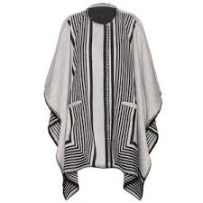 Wool and Polyester reversible poncho